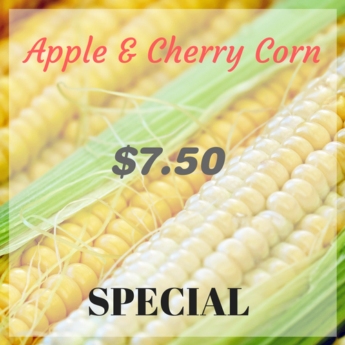 Apple and Cherry Corn $7.50