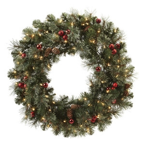 J&J Seasonal Prelit Clear Brookhaven Wreath 30