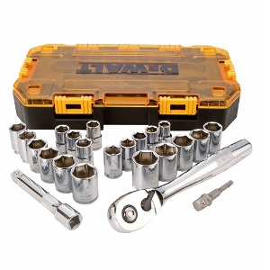 DEWALT 23 PC 1/2 IN DRIVE COMBINATION SOCKET SET
