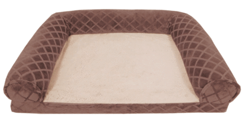 Arlee Pet Products Lily Rectangle Bolster Brown Orthopedic Dog Bed