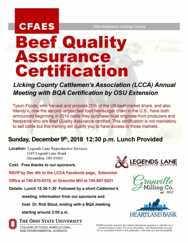Beef Quality Assurance Certification