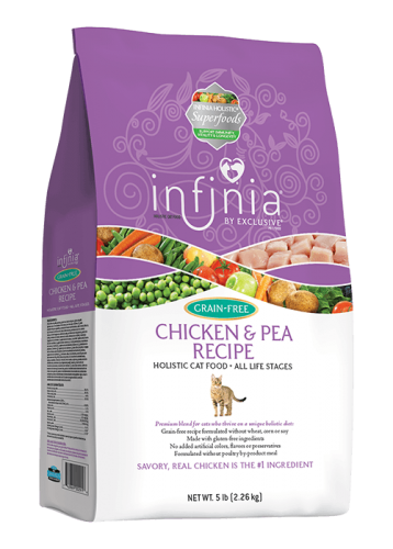 Infinia Grain Free Chicken & Pea Holistic Cat Food, 5 pound bag