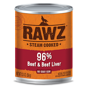RAWZ Steam Cooked 96% Beef & Beef Liver Dog Food