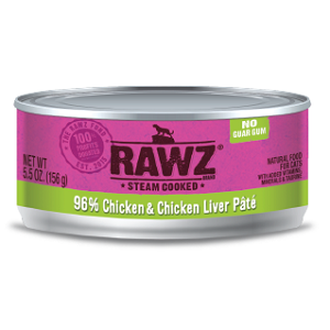 RAWZ® Steam Cooked 96% Chicken & Chicken Liver Pate Cat Food