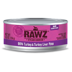 RAWZ® Steam Cooked 96% Turkey & Turkey Liver Pate Cat Food