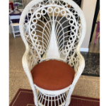 Chair, White Wicker Tall Fanback