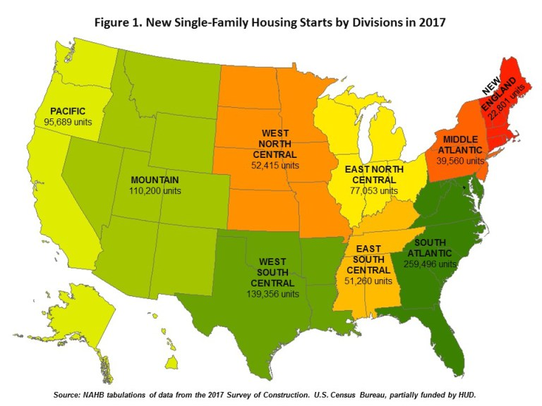 New Single-Family Housing Starts by Divisions in 2017
