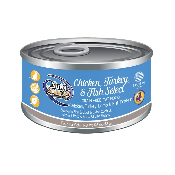 NutriSource® Grain Free Chicken, Turkey & Fish Select Canned Cat Food