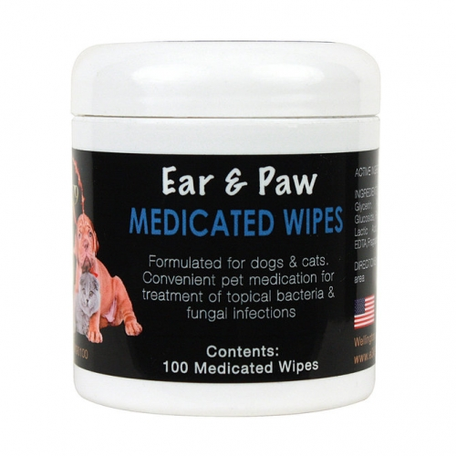 Medicated Ear & Paw Wipes 100ct