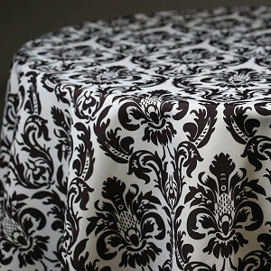 Linen, Black / White Damask