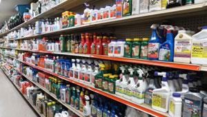lawn products on shelves in-store