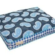 Original Digs Pet Bed- Cobalt Blue Paisley Plaid