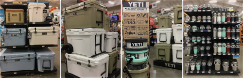 Great Selection of Yeti-Coolers, Loadout buckets, drinkware & more!