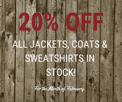 20% Off All Jackets, Coats & Sweatshirts In Stock!