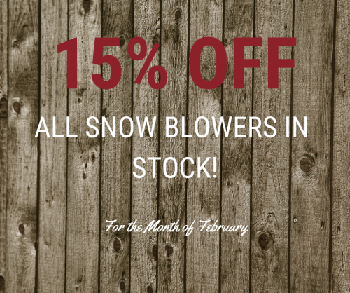 15% Off All Snow Blowers in Stock!