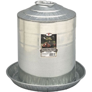 Little Giant Double Wall Galvanized Poultry Waterer, 5 gallons
