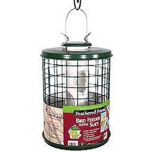 Feathered Friend caged seed bird feeder with ez clean base