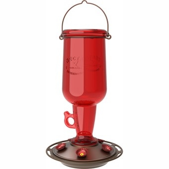 Red Glass Jug Hummingbird Feeder, 23 oz.