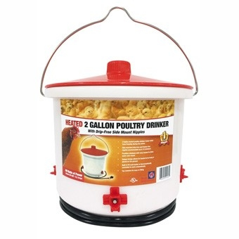 Heated Poultry Nipple Style Drinker, 2 gallons
