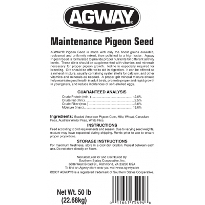 Agway Maintenance Pigeon Seed with Corn, 50 lbs.