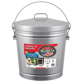 Behrens Galvanized Steel Garbage Can with Lid, 10 Gal.