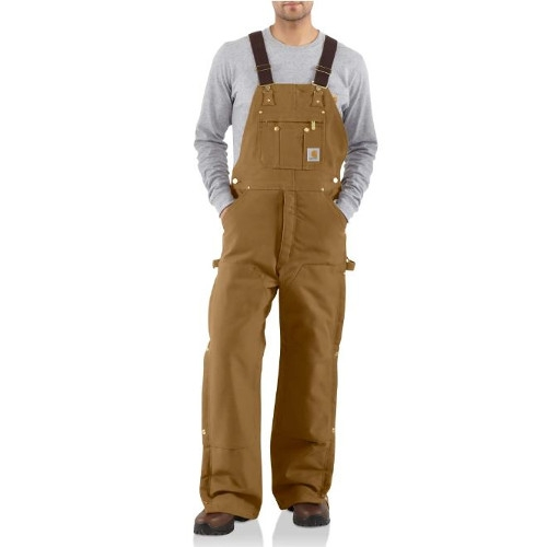 Carahartt Duck Zip-to-thigh Bib Overall/ Quilt Lined