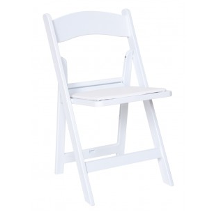 Folding Chair, White, Padded