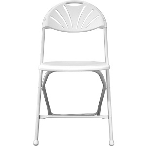 White Fan-back Stackable Folding Chair