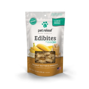 pet.releaf Large Breed CBD Hemp Oil Edibites – Peanut Butter Banana