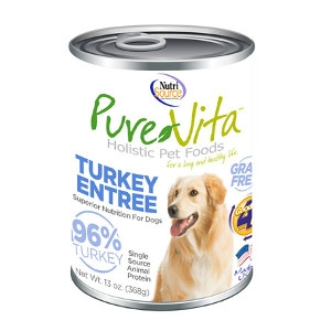Pure Vita Turkey Entree 96% Turkey Grain Free Canned Dog Food