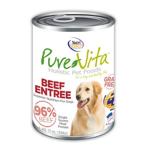 Pure Vita Beef Entree 96% Beef Grain Free Canned Dog Food