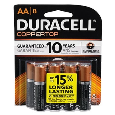 AA Coppertop Batteries, 8 Pack