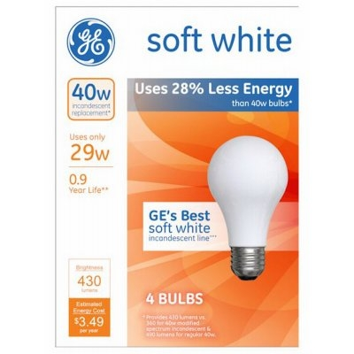 GE A-Line Soft White Halogen Light Bulbs 4 pk, 29-Watts