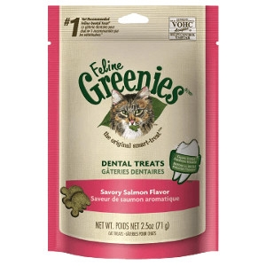 Feline Greenies™ Dental Treats Savory Salmon Flavor 11oz Tub