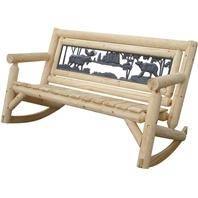 Painted Sky Design Log Rocking Bench - Moose/Bear