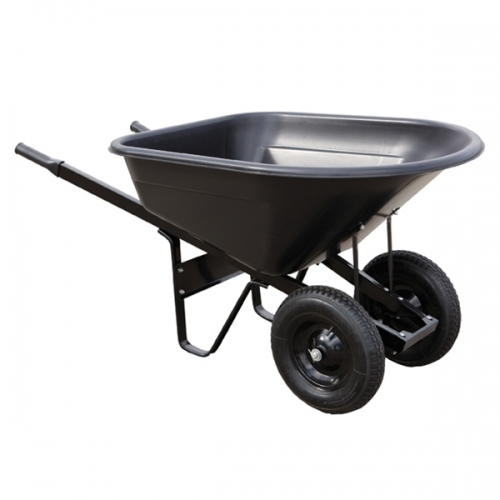 8 cubic foot poly wheebarrow with dual wheels