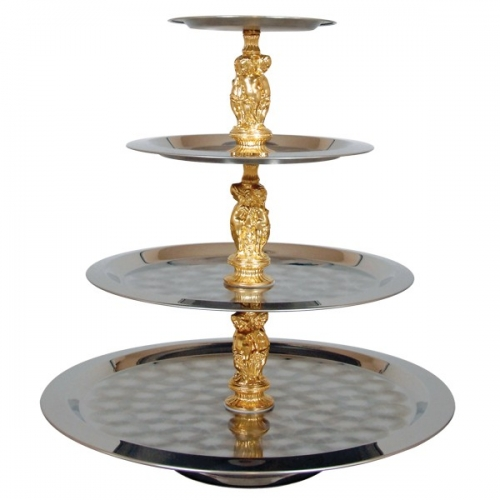 Server 4 Tiered Stainless W/ Gold Accents