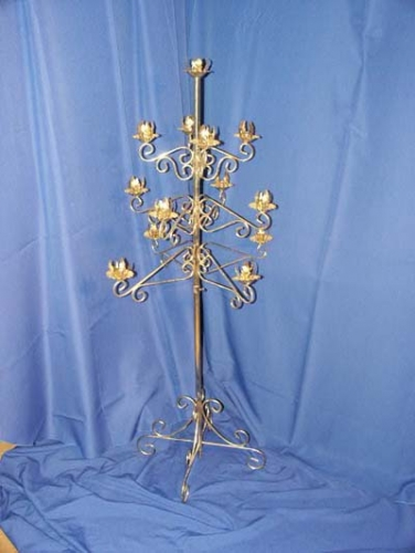 Thirteen Branch Brass Candelabra