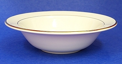 Soup Bowl/ Off White With Gold Trim