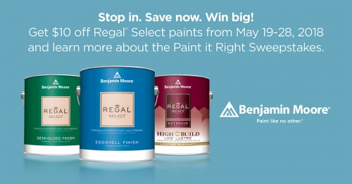 Memorial Day Benjamin Moore Regal Paint Sale