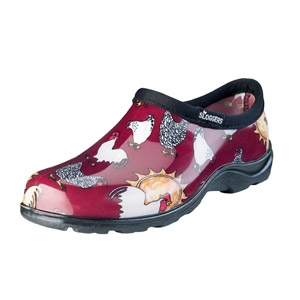 SLOGGERS® Barn Red Chicken Print Women's Waterproof Comfort Shoes