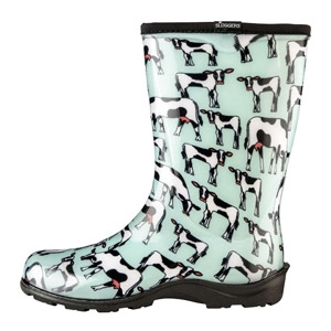 SLOGGERS® Mint Cowabella Print Women's Rain and Garden Boot