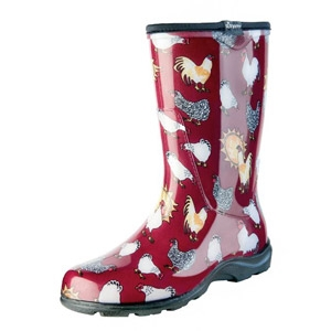 SLOGGERS® Barn Red Chicken Print Women's Rain and Garden Boot