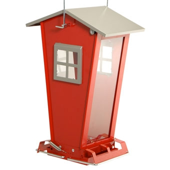 Audubon Red Snack Shack Squirrel-Resistant Bird Feeder