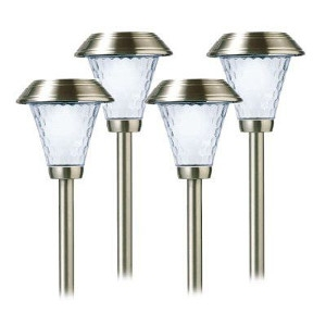 LED Solar Path Light Set, Brushed Stainless Steel, 4-Pk.