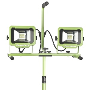 PowerSmith Dual Head Work Light With Tripod, 120 V, 40 W, 0.4 A, LED