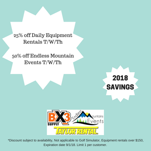 Save 25%-50% on daily equipment and events!