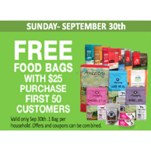 Free Food Bags w/ $25 Purchase