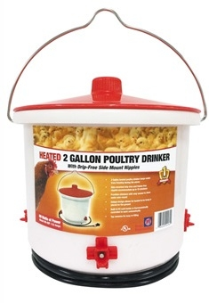 HEATED POULTRY DRINKER WITH SIDE-MOUNT NIPPLES
