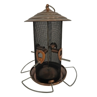 Feathered Friend Brushed Copper Screen Bird Feeder 12 in